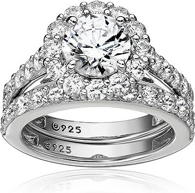 Amazon Com Platinum Plated Sterling Silver Swarovski Zirconia Flower Halo Ring Jewelry