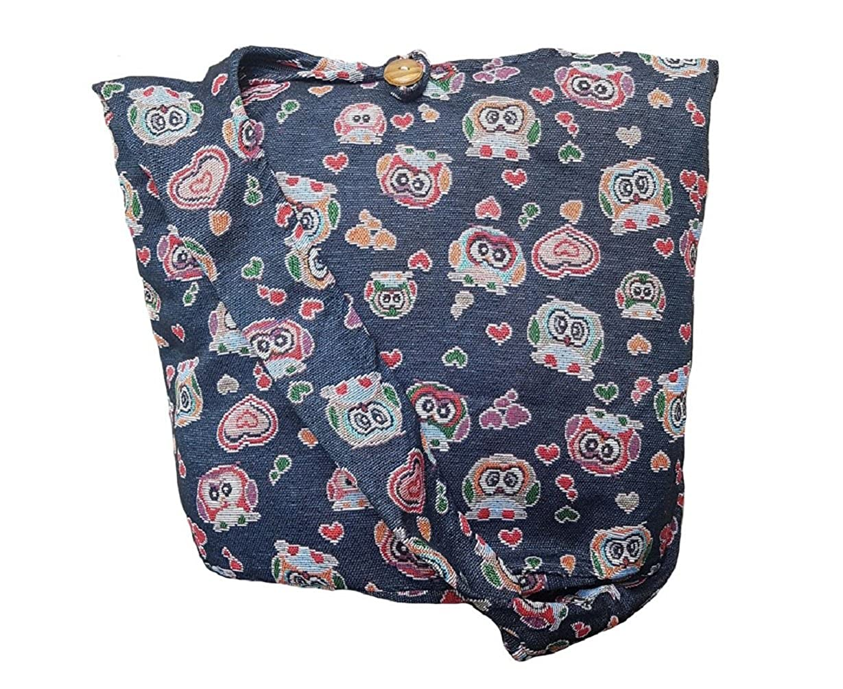 Black Ol18 BTP  Owl Hippie Hobo Sling Crossbody Bag Messenger Purse Thai Cotton Large