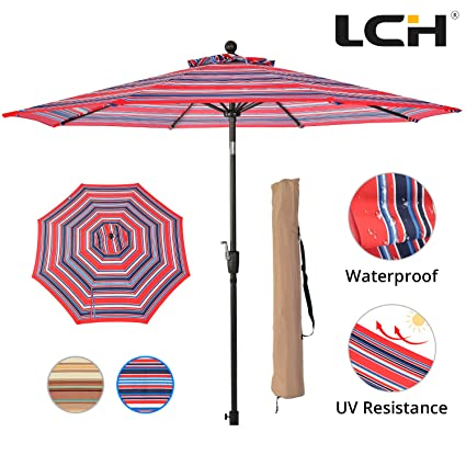 Charmant LCH 9 Ft 8 Ribs Outdoor Striped Umbrella Fabric Patio Backyard Garden Lawn  Deck Strong Pole