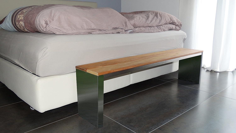 sitzbank f r wohnraum bxtxh 150x30x40cm edelstahl gartenbank bank mit echt holz gartenm bel. Black Bedroom Furniture Sets. Home Design Ideas
