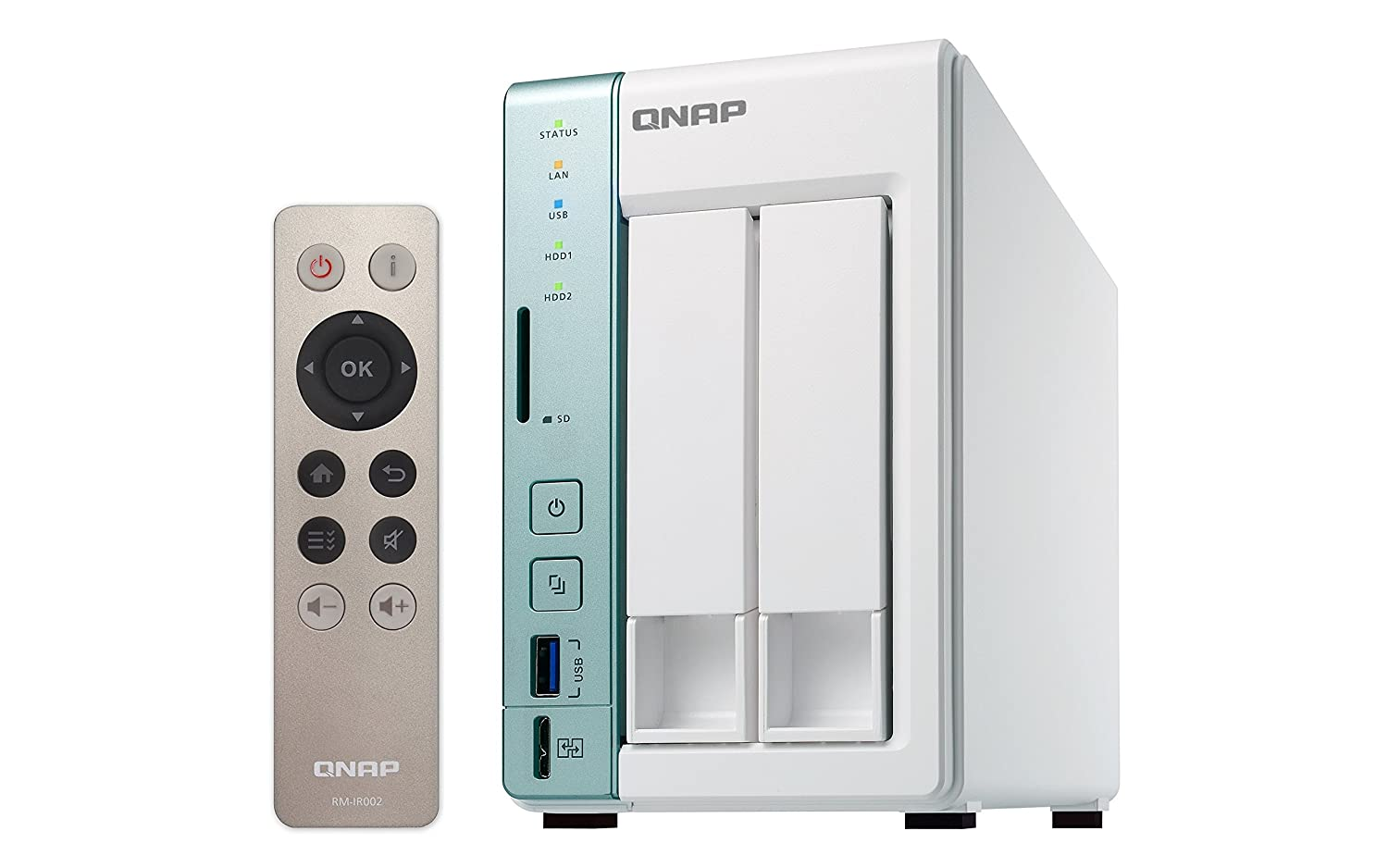 QNAP Turbo TS-251A - Dispositivo de Almacenamiento en Red NAS (Intel Celeron, 2 GB RAM, USB 3.0, SATA II/III, Gigabit), Blanco