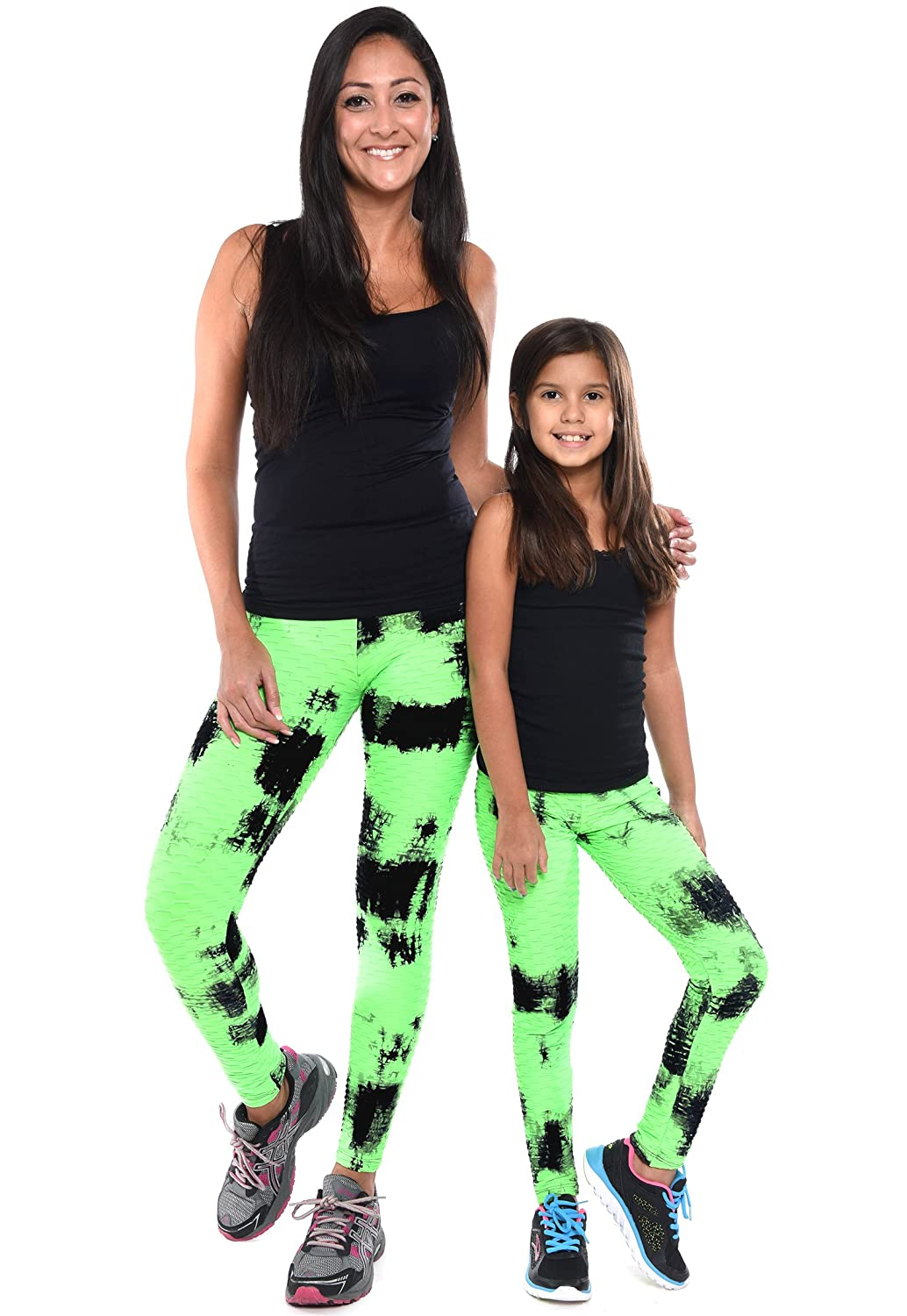 c787e21c330 Amazon.com  Mommy and Me Textured Leggings Pants Matching Outfit Set (Women-Toddler-Little  Kids-Big Kids) (Kids S M (Fits Ages 2-6)