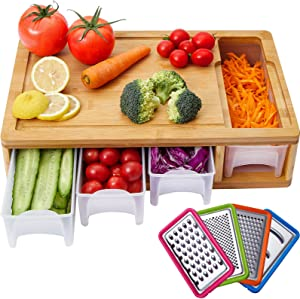 Large Kitchen Bamboo Cutting Board with Containers/Trays/Transparent Lids/Juice Grooves/4 Graters for Easy Food Prep & Storage and Cleanup, Wood Chopping Board with Food Sliding Opening