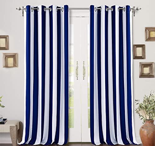 DriftAway Ryder Stripe Pattern Thermal Insulated Blackout Window Curtain Grommet 2 Panels 2 Layers 52 Inch by 84 Inch Navy