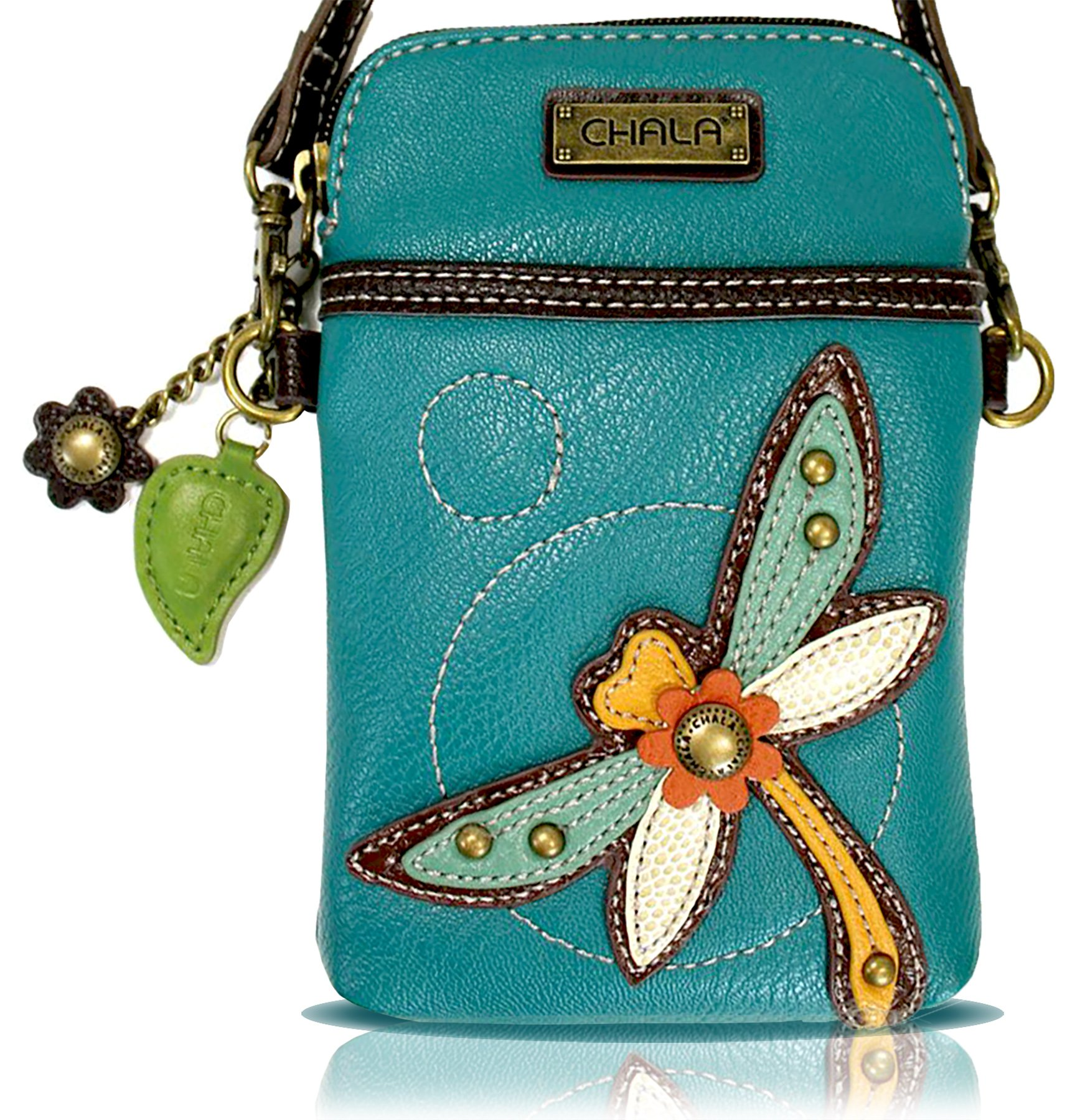 Chala Crossbody Cell Phone Purse - Women PU Leather Multicolor Handbag with Adjustable Strap - Dragonfly - Turquoise by CHALA