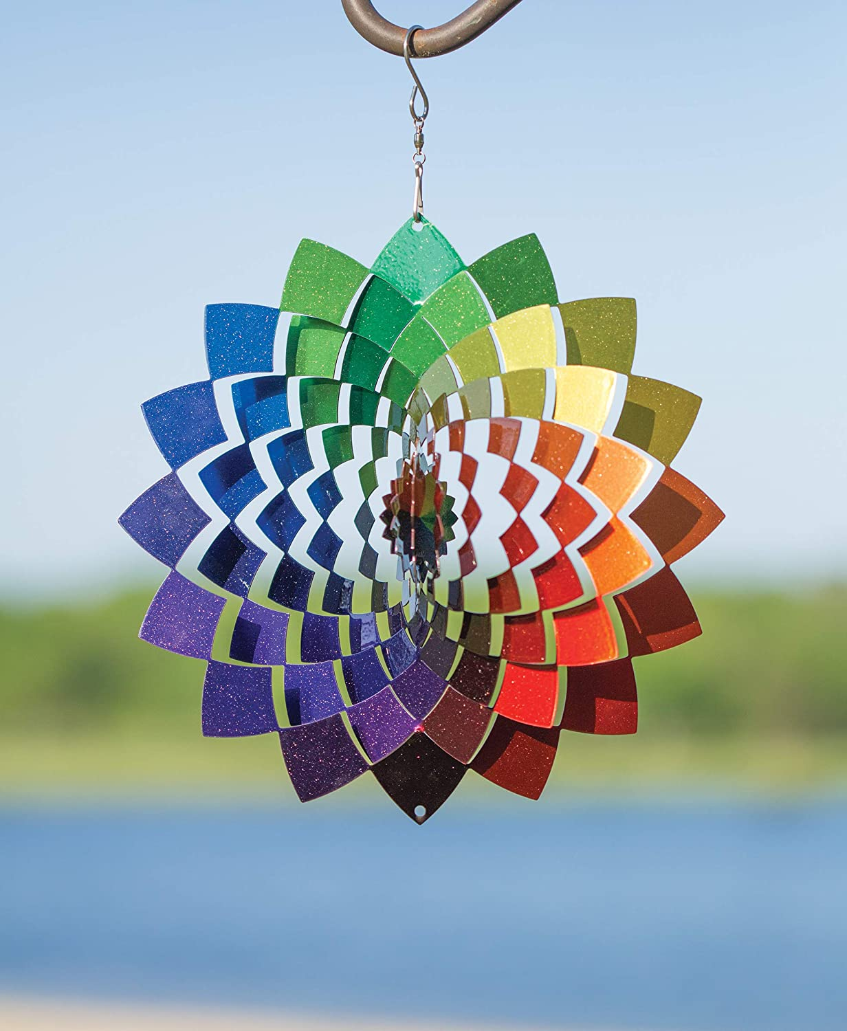 VP Home Kinetic 3D Metal Garden Wind Spinner (Rainbow Flower)