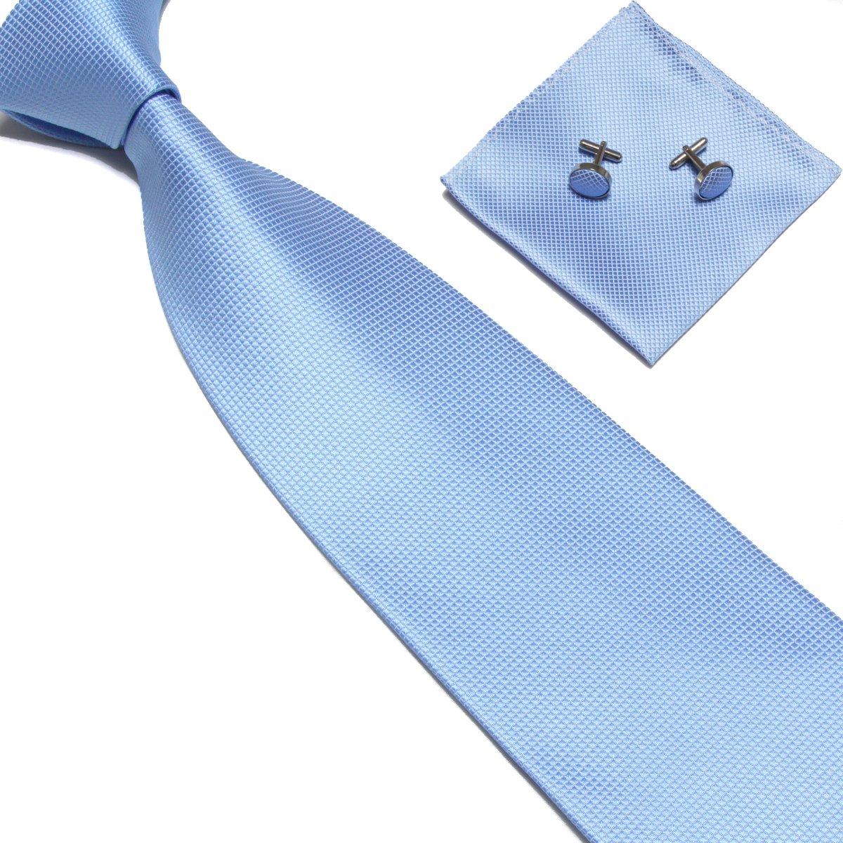 Stylefad Men's Solid Plaid Wide Neck Tie Set Hanky Cufflink