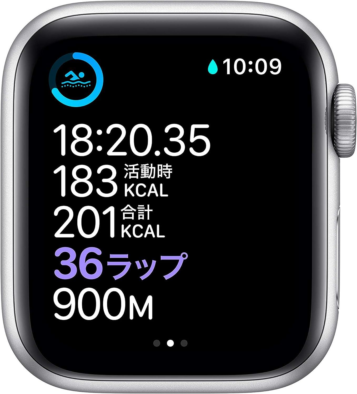 最新 AppleWatch Series 6(GPS + Cellularモデル)- 40mmシルバーアルミニウムケースとホワイトスポーツバンド