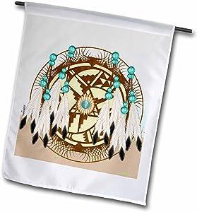 "3dRose fl_108087_1""Designer One of A Kind Native American Art Garden Flag, 12 x 18"