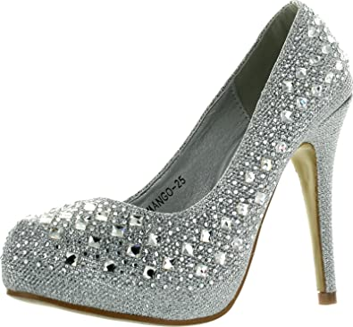 6b98a9285a674 Top Moda Womens Mango-25 Rhinestone Studded Sparkling Platform Stiletto  Heel Dress Pumps