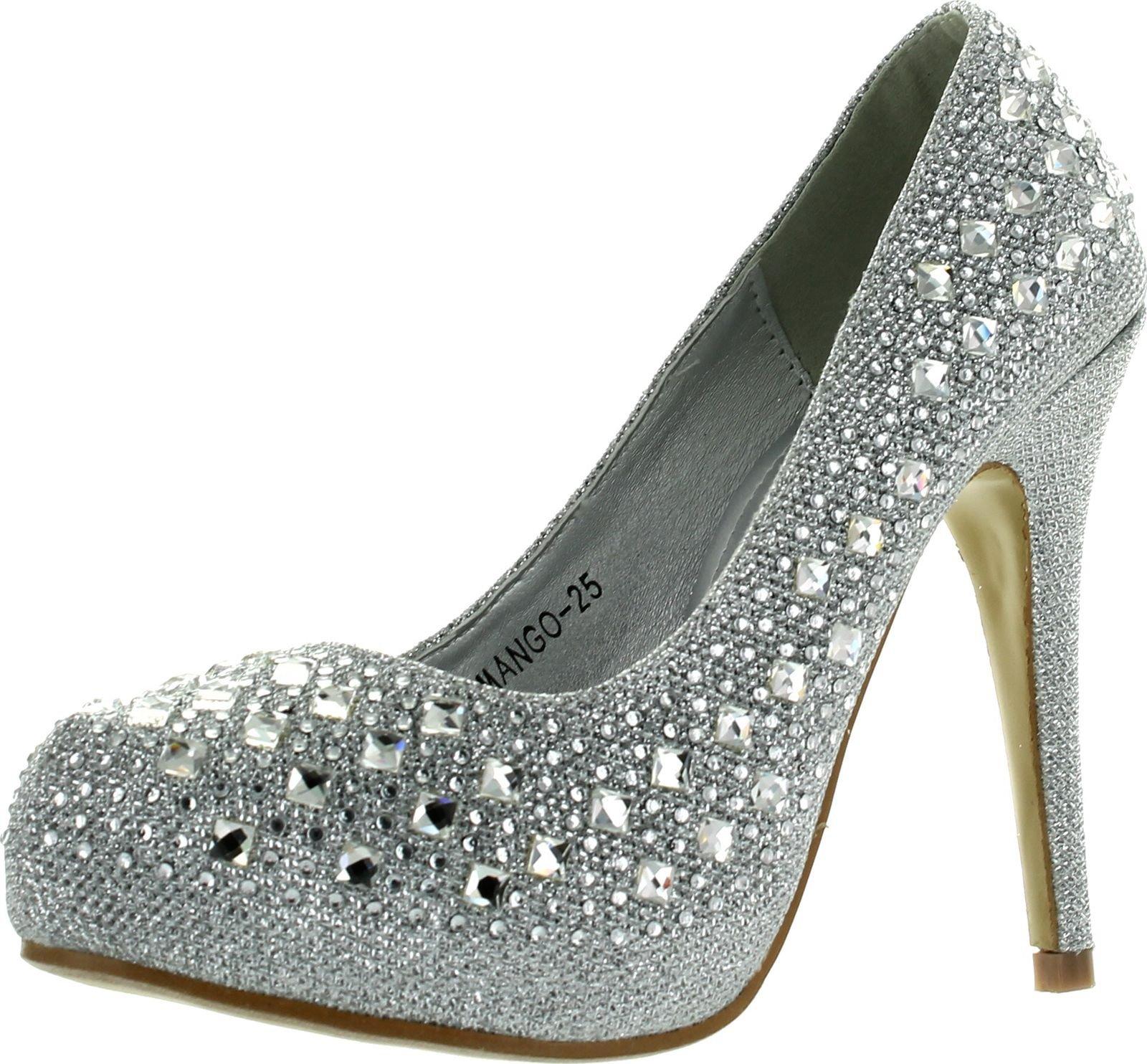 Top Moda Womens Mango-25 Rhinestone Studded Sparkling Platform Stiletto Heel Dress Pumps,Silver,5.5