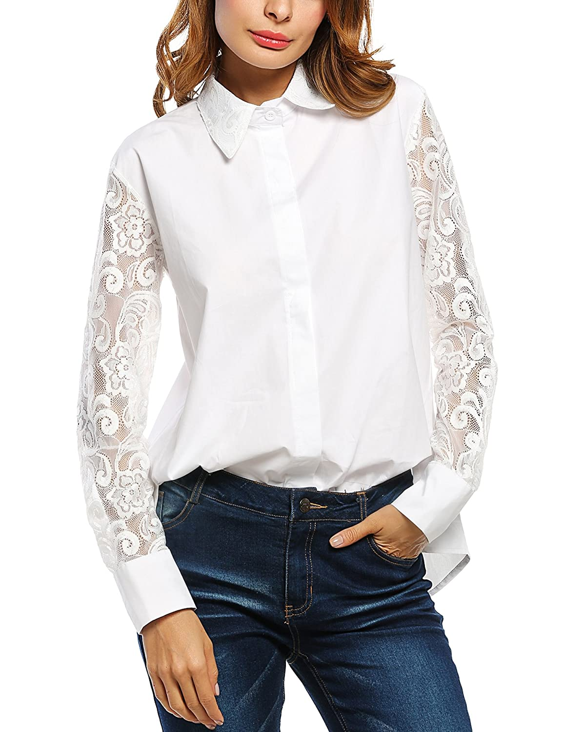 Victorian Blouses, Tops, Shirts, Vests Zeagoo Womens Button Down Shirt Long Sleeve Blouse Patchwork Lace Shirt Top $20.99 AT vintagedancer.com