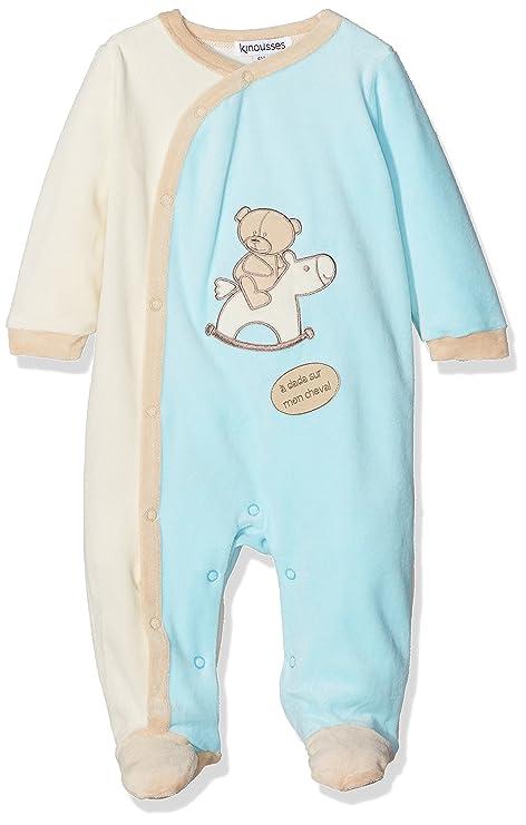 "db809e8fe6381 Kinousses 810 2083 Grenouillères Pyjama bébé garçon ""Cavalier"" 6  mois bleu"