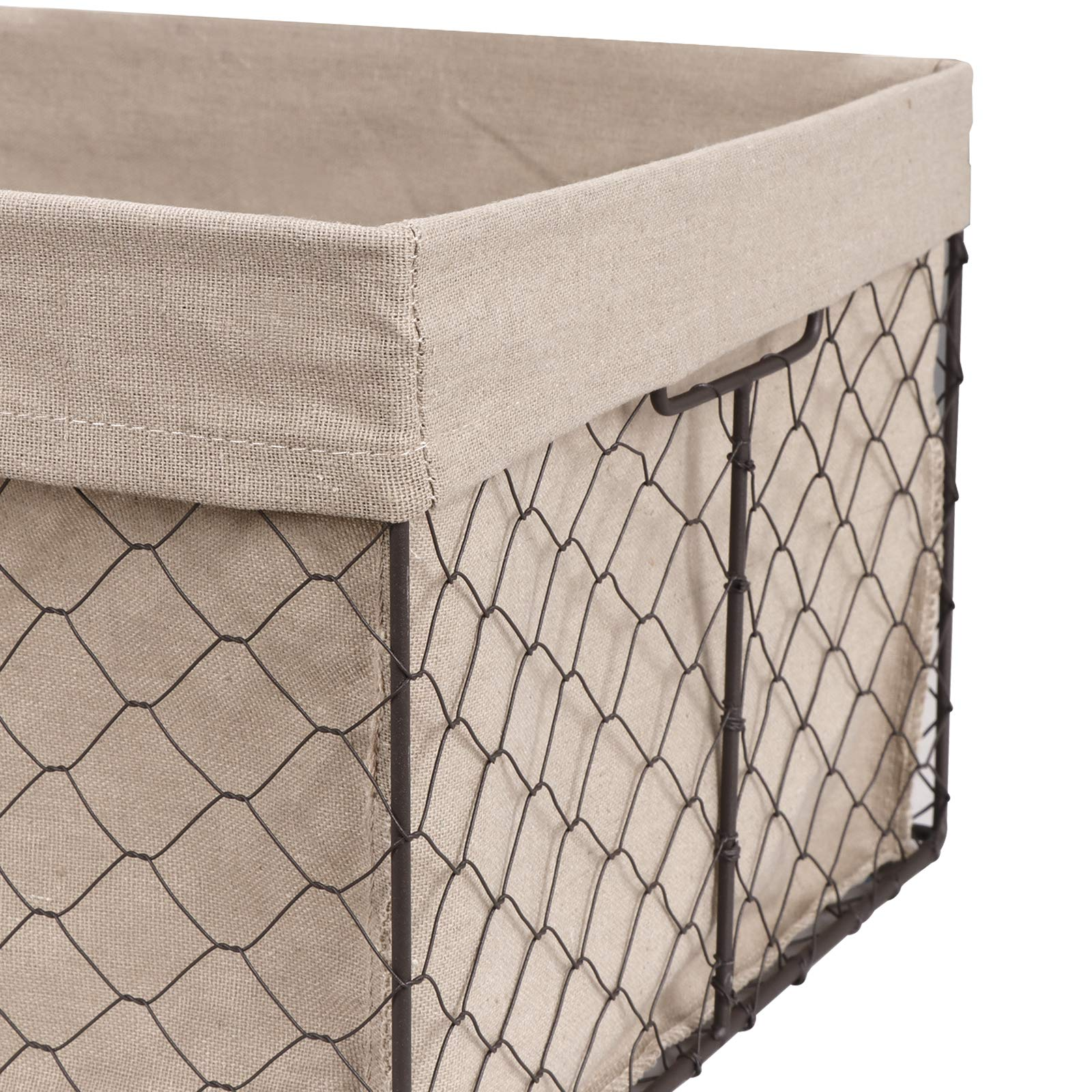 F2C Home Decor Set of 5 Vintage Toy Fruit Clothes Metal Chicken Wire Storage Basket Organizer W/Removable Fabric Liner for Bathroom Kitchen Office Nursery Laundry Bedroom Shelf by F2C (Image #6)