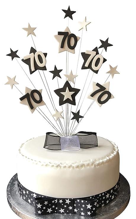 70th Black And White Star Birthday Cake Topper Plus 1 X Metre 25mm