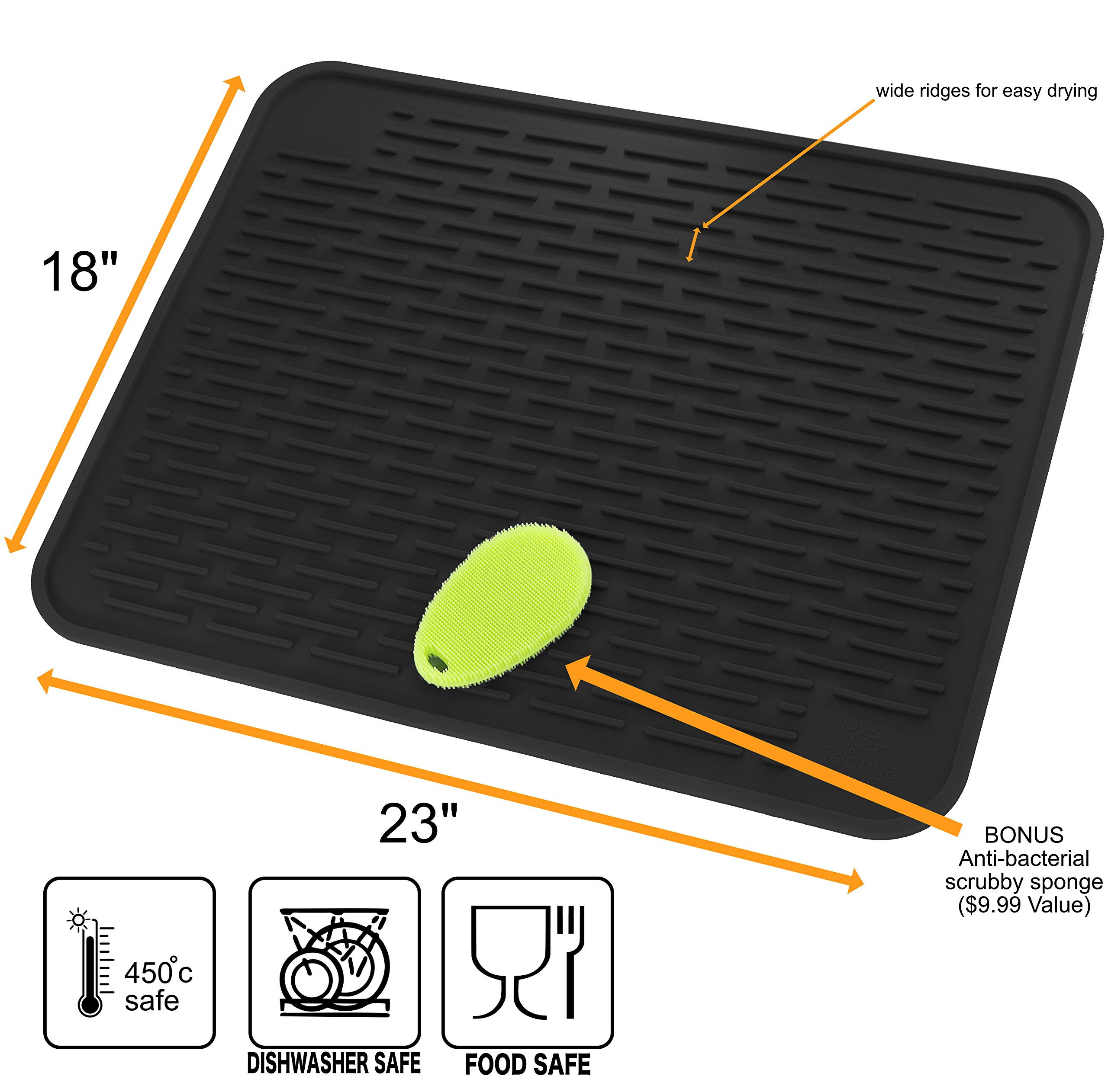 Premium Largest 23'' x 18'' Silicone Dish Drying Mat and Scrubber | Counter Top Mat | Anti Bacterial | Dish Washer Safe | Heat Resistant Trivet | Countertop Protector (XXL Black) by Tortuga Home Goods (Image #3)