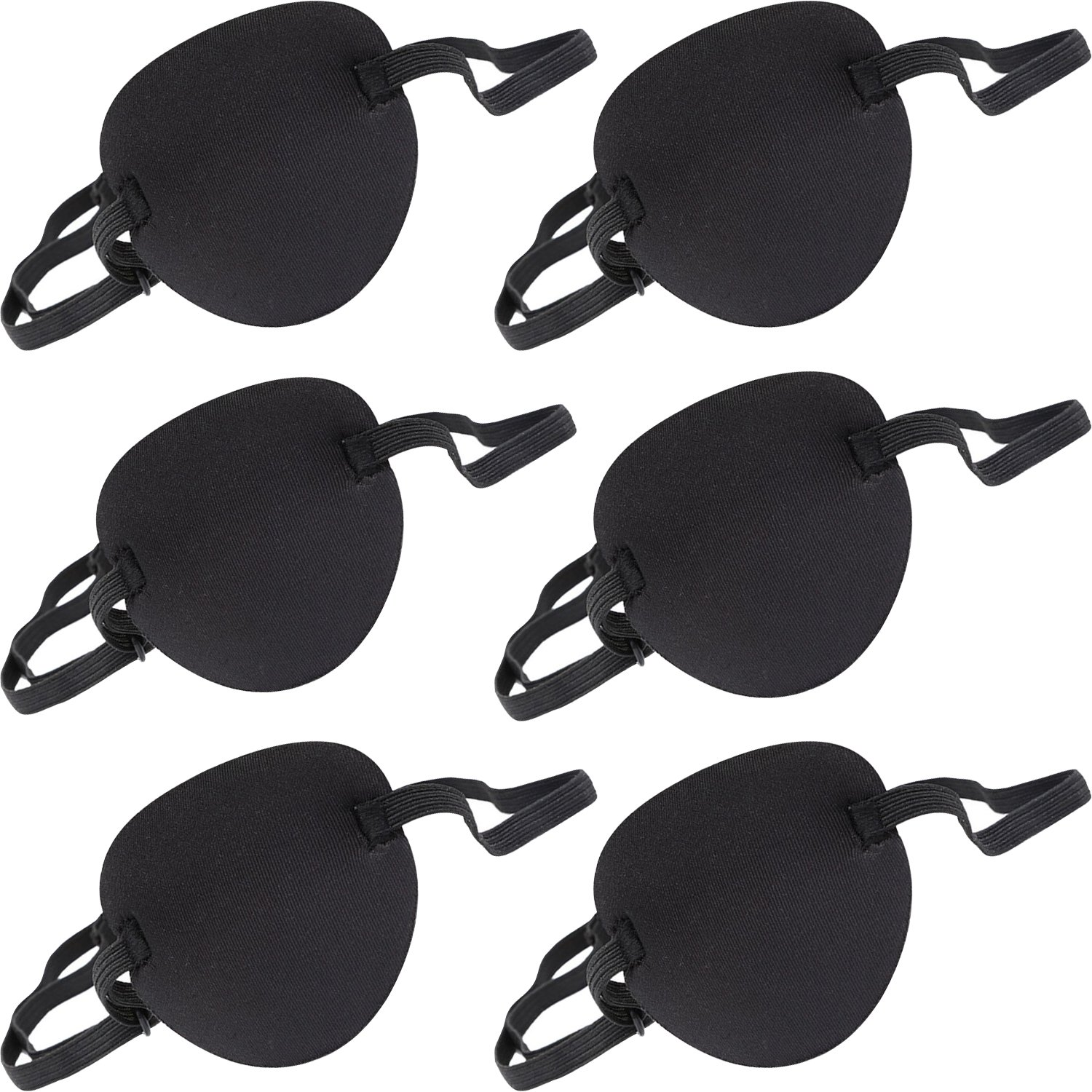 6 Pack Eye Patch Strabismus Adjustable Eye Patch Eye Mask with Buckle for Adults and Kids, Black Bememo
