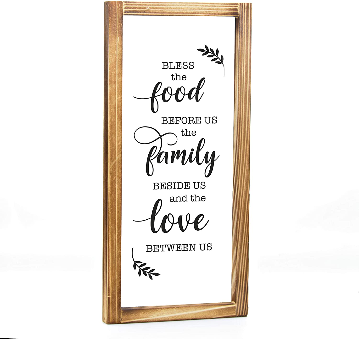 MAINEVENT Bless This Food Before Us Sign - Farmhouse Kitchen Decor, Kitchen Wall Decor, Rustic Home Decor, Country Kitchen Decor with Solid Wood Frame 8x17 Inch