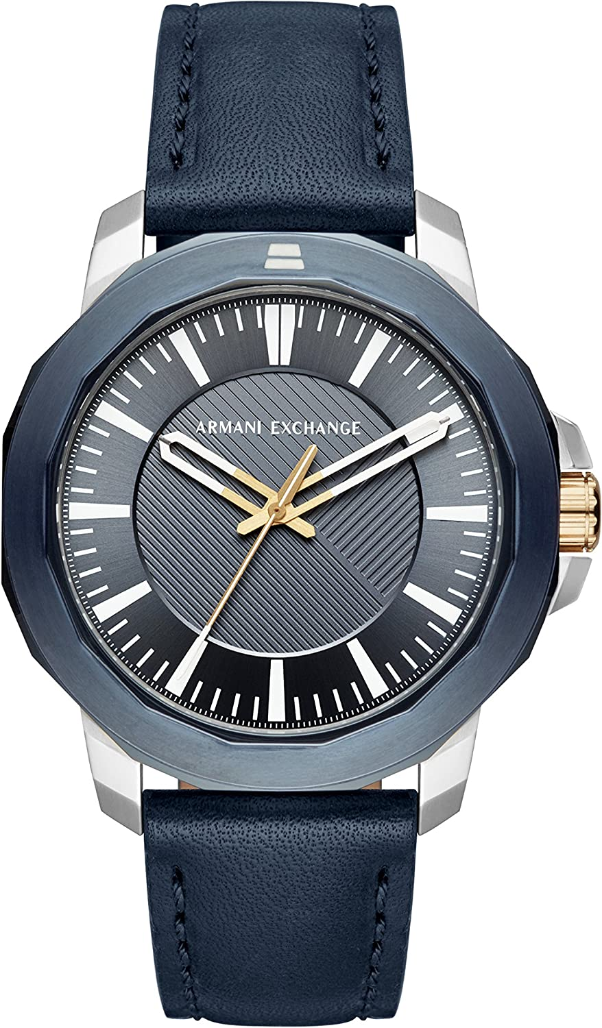 Armani Exchange Men s Stainless Steel Analog-Quartz Watch with Leather Calfskin Strap, Blue, 22 Model AX1905