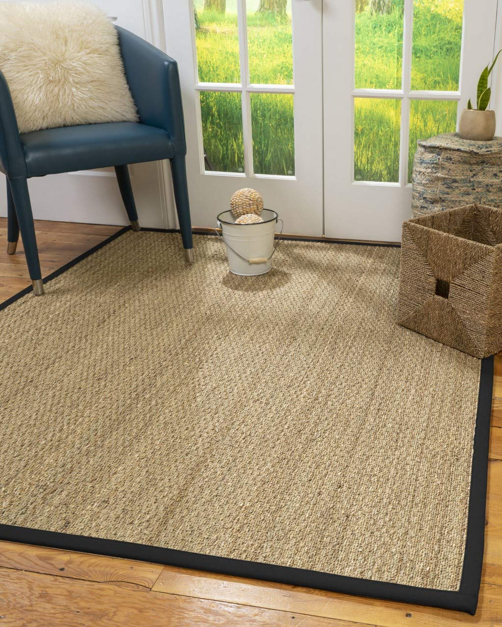 Natural Area Rugs 100 Natural Fiber Handmade Mayfair, Natural Seagrass Rug, 5 x 8 Black Border