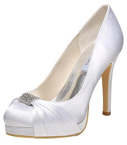 f32144180beeb M MULGARIA Jiame Women High Heel Pumps Closed Toe Rhinestones Satin Evening  Party Wedding Shoes