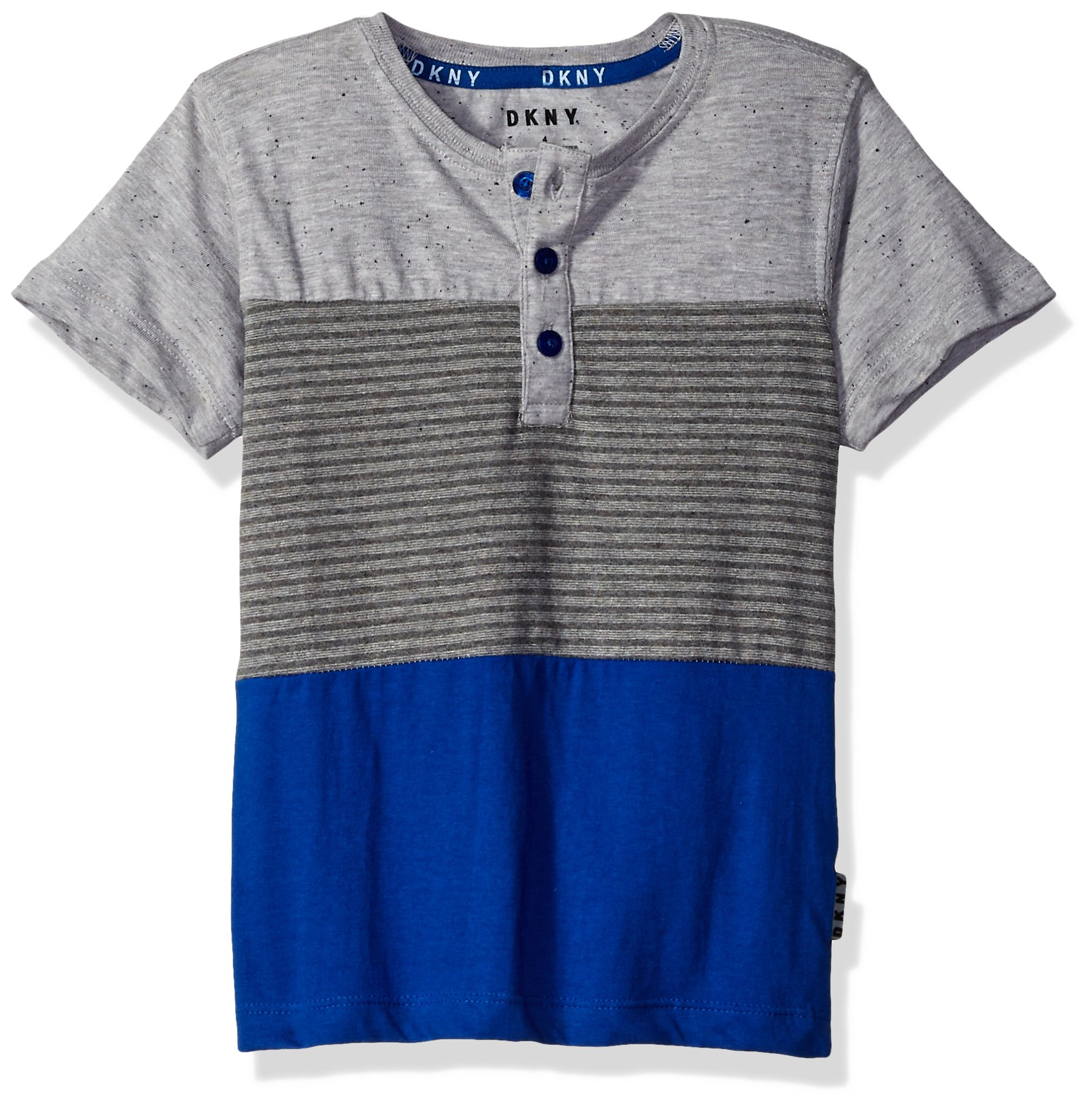 DKNY Big Boys' Short Sleeve Color Block Stripe Henley Shirt, Surf The Web, 14/16