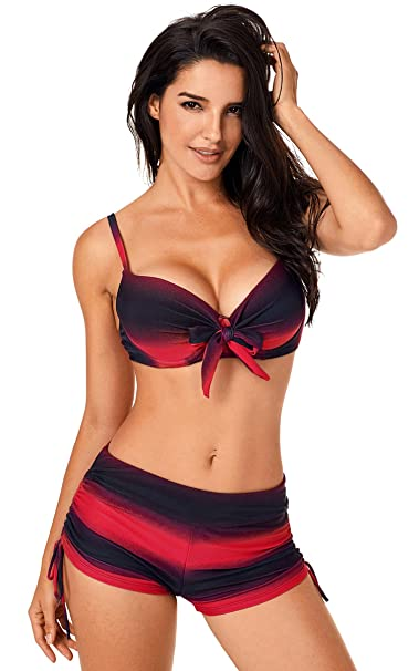 2fda051a8988b Fasnoya Women s Red Black Push Up Bikini with Board Shorts - bik533  Amazon. in  Clothing   Accessories