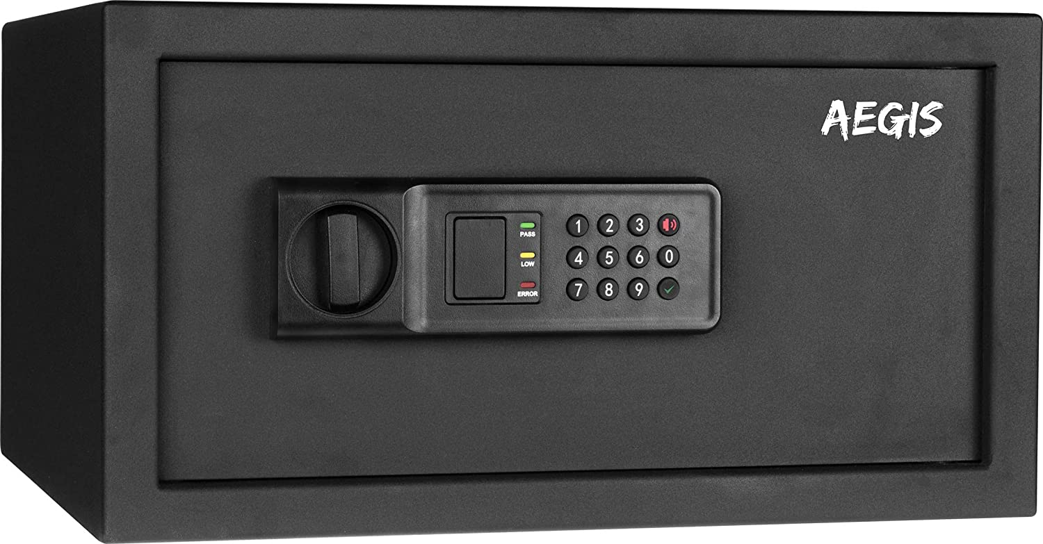 1.04 cu.ft Electronic Digital Security Safe Box- Keypad Lock Box with Battery and Keys, Perfect for Home Office Hotel Cash Jewelry (Black)-AEGIS