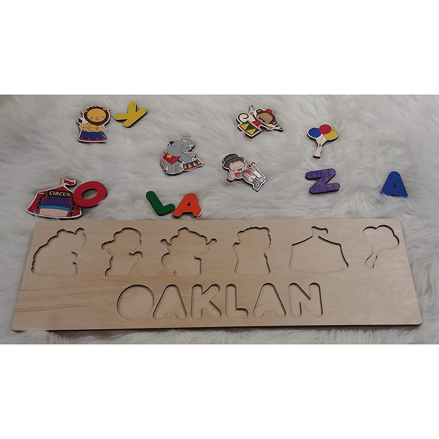 Personalized Wooden Name Puzzle Circus Puzzle Sign