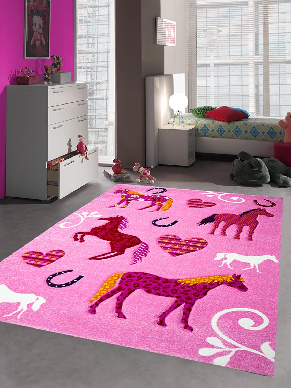 Kinderteppich Spielteppich Kinderzimmer Teppich Pferd Design mit Konturenschnitt Pink Creme Rot Orange Gelb Schwarz Größe 140x200 cm