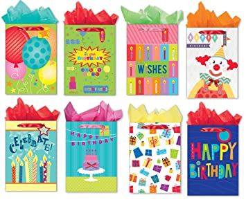Jumbo Birthday Gift Bags Set Of 8 Different Designed Paper With Packing Tissue