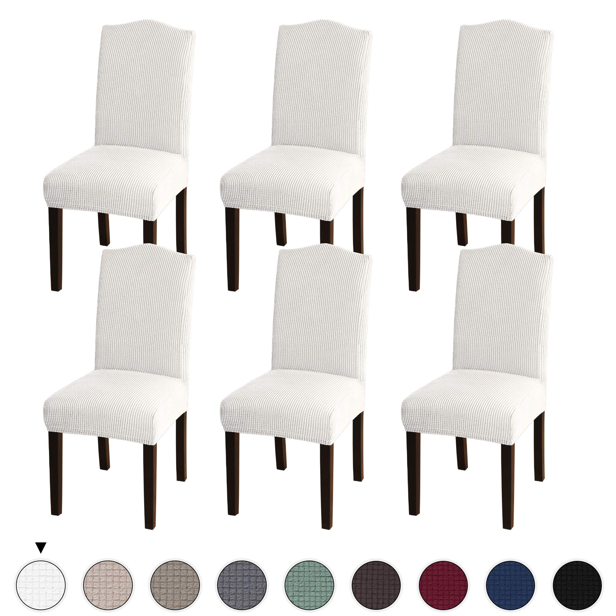 Turquoize Stretch Dining Chair Velvet Fabric Slipcovers Washable Removable Chair Slipcover Dining Chair Protector Cover for Dining Room Set of 6, Ivory by Turquoize