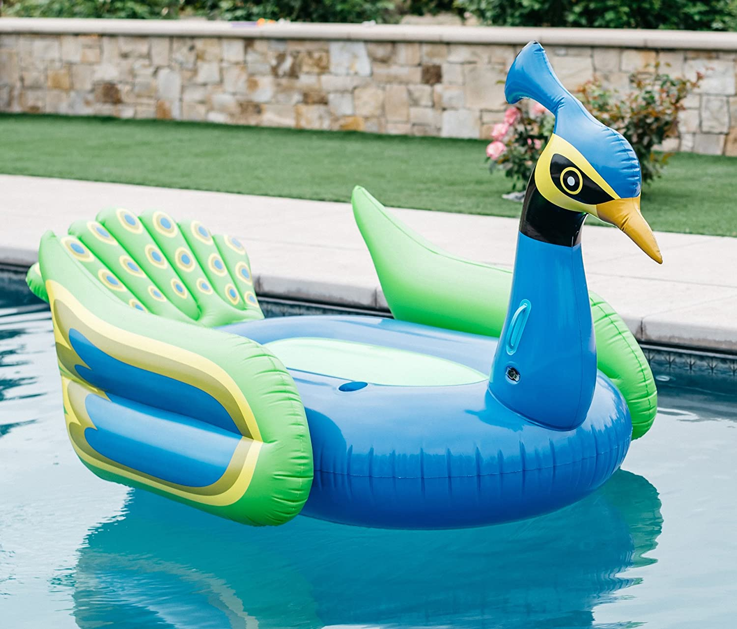 Amazon.com: Mimosa Inc Peacock Inflatable Premium Quality Giant Size Pool  Float: Toys U0026 Games