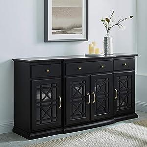 Walker Edison Modern Wood Glass-Buffet-Sideboard Living Entryway Serving Storage Cabinet Doors-Dining Room Console, 60 Inch, Black (AZU60LANFWBL)
