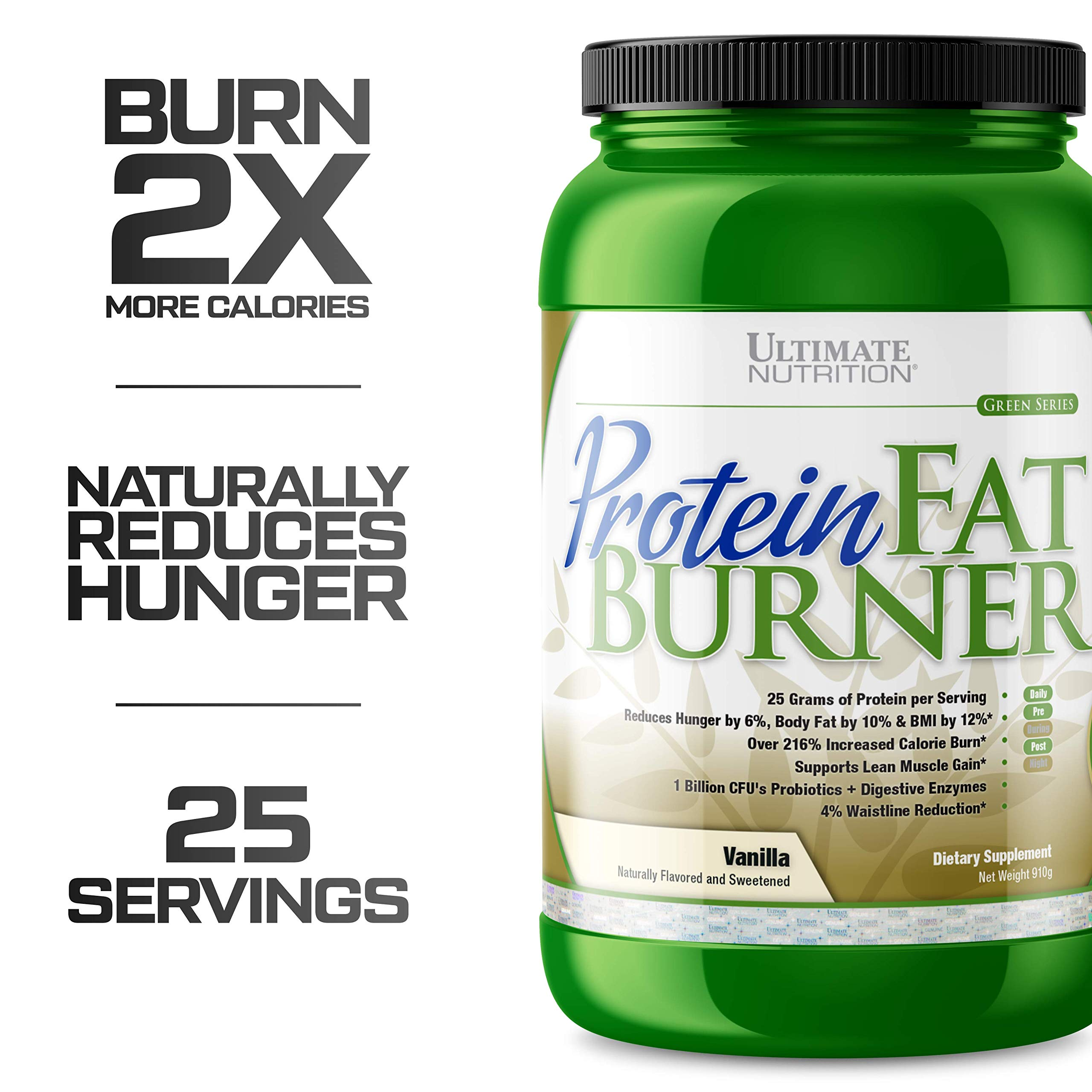 Ultimate Nutrition Protein Fat Burner Whey Protein Powder for Weight Loss - Keto Friendly with Natural Hunger Reducing Ingredients, 25 Servings, Vanilla by Ultimate Nutrition