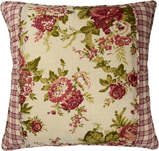 """WAVERLY VINTAGE ROSE PILLOW 18/"""" x 18/""""  Red Gingham Back fabric"""
