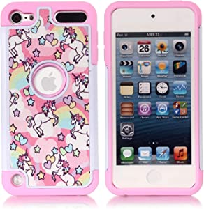 Apple iPod Touch 6th Case, iPod Touch 5 Cover - Rainbow Unicorn Patchwork Pattern Shockproof Hard PC and Inner Silicone Hybrid Dual Layer Armor Defender Case for Apple iPod Touch 5 6th Generation