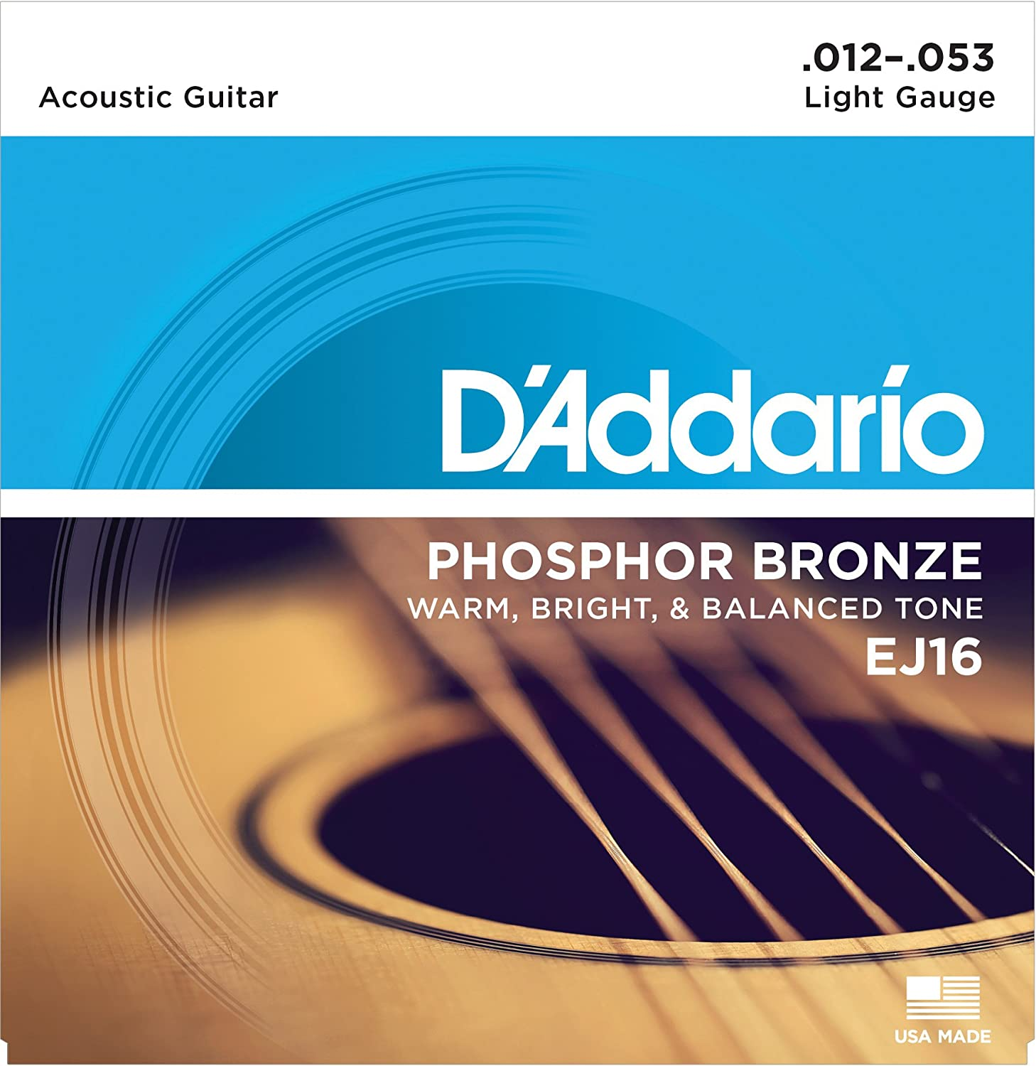 D'Addario EJ16 Phosphor Bronze Acoustic Guitar Strings, Light, 12-53 D' Addario