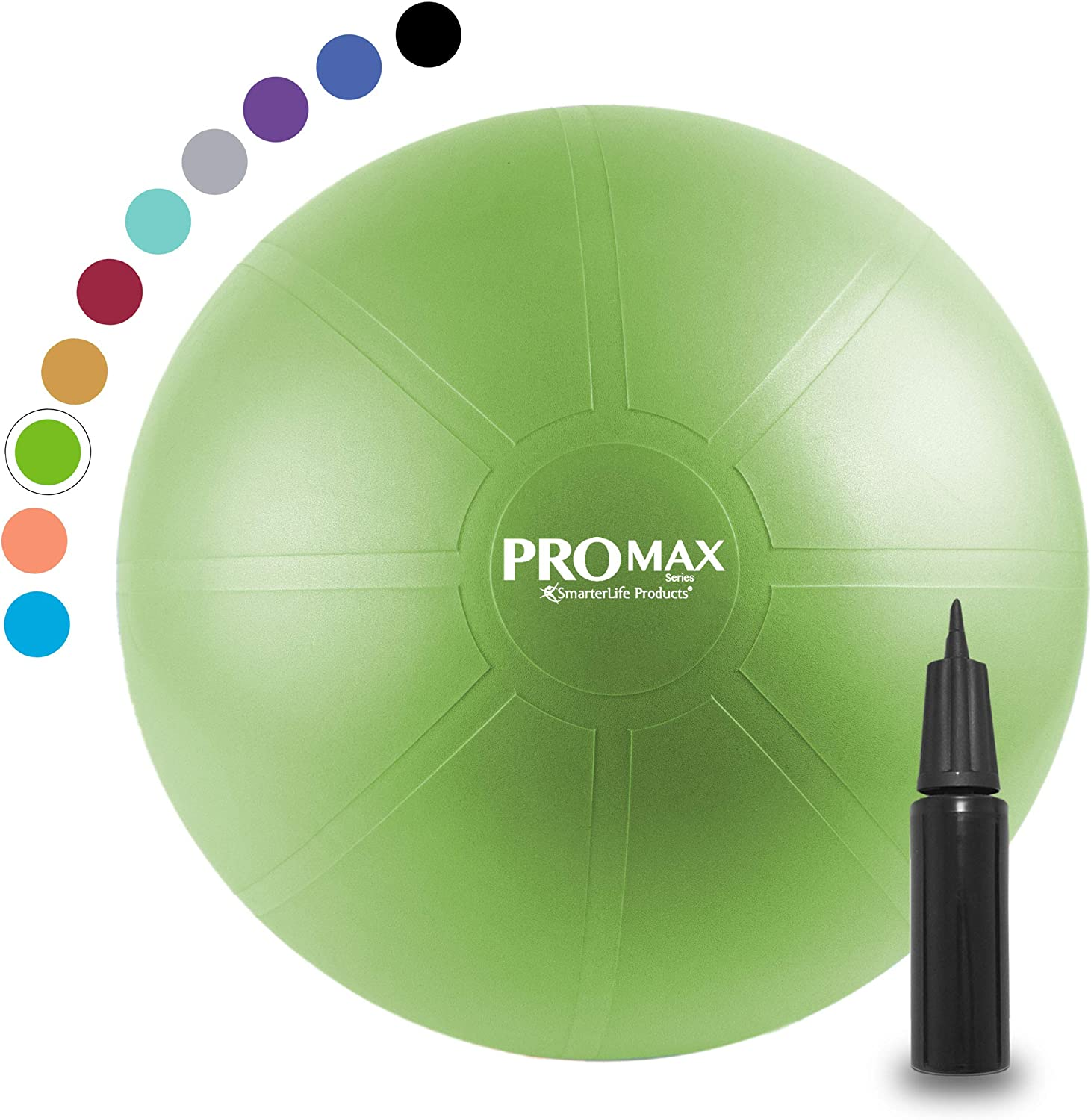 PRO MAX Exercise Ball by SmarterLife - Professional Grade Extra Thick Yoga Ball for Balance, Stability, Fitness, Pilates, Birthing, Therapy, Office Ball Chair, Flexible Seating
