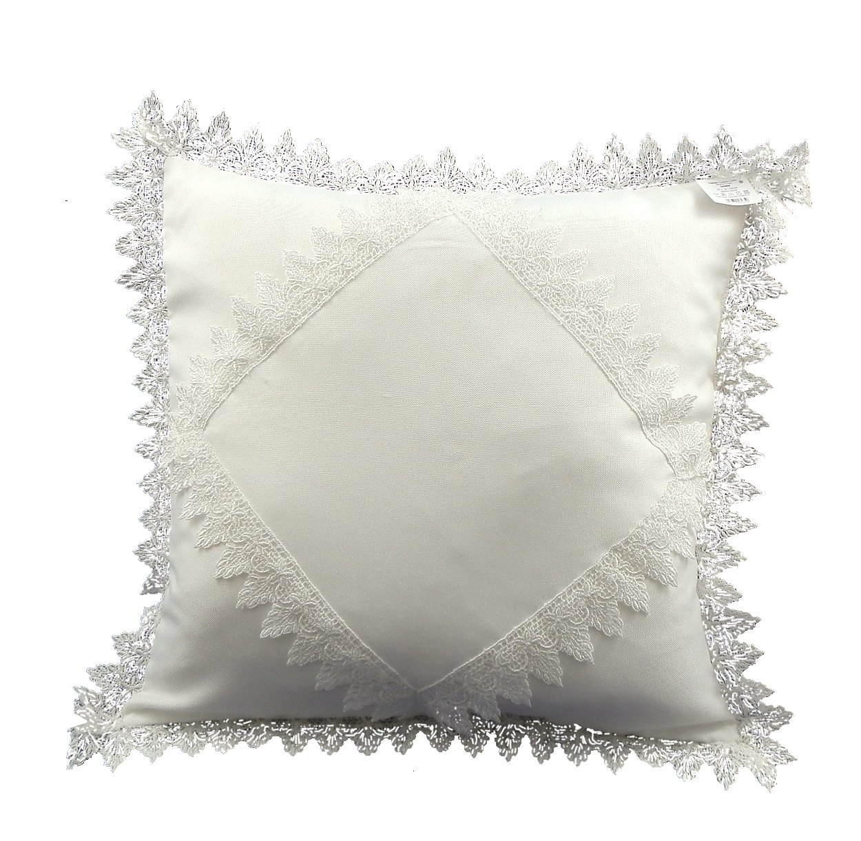 43 CM (16 INCH) SQUARE CUSHION COVER WITH FLARED FLOWER LACE EDGE AND CENTRE PANEL IN WHITE COLOUR (54469