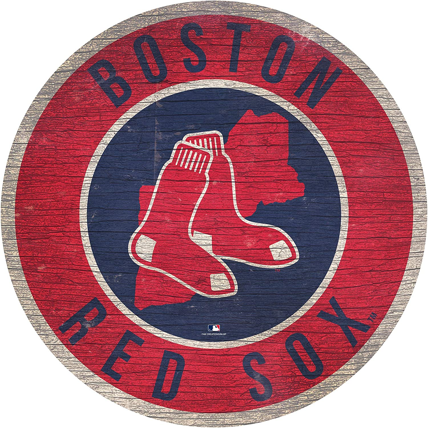 "Red Sox 12"" Circle with State and Team Logo Wood Sign"
