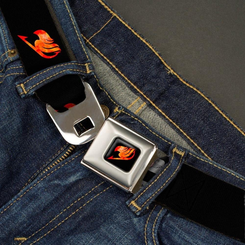 Buckle-Down Seatbelt Belt Fairy Tail Guild Symbol Black//Flames 24-38 Inches in Length 1.5 Wide