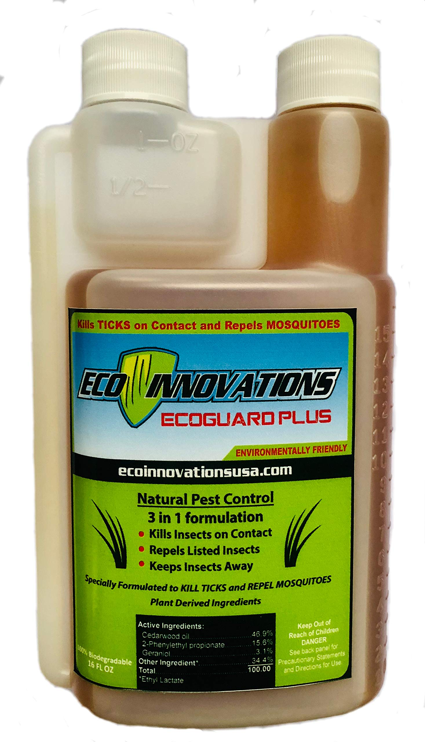 Eco Innovations, Ltd; EcoGuard Plus, 16 ounce, All Natural Tick and Mosquito Control Concentrate for Spray Applications in Lawn and Landscape by Eco Innovations, Ltd; EcoGuard Plus, 16 ounce, All Natural Tick and Mosquito Control Concentrate for