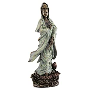 Top Collection Quan Yin Statue on Lotus Pedestal - Kwan Yin Goddess of Mercy, Compassion, and Love Sculpture in Premium Cold Cast Bronze- 12.25-Inch Collectible Bodhisattva Avalokitesvara Figurine