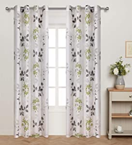 Green Leaves Print Curtains Sheer Window Drapes With Grey White Ivy Floral Leaf for Living Room 2 Panel Eyelet/Ring Top Translucent and Soft Spring and Summer Theme for Bedroom 63 inch length set of 2