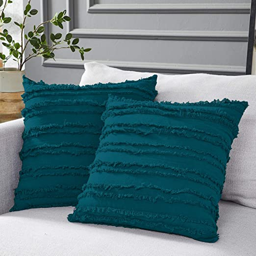 Amazon.com: Longhui bedding Teal Throw Pillow Covers for Couch