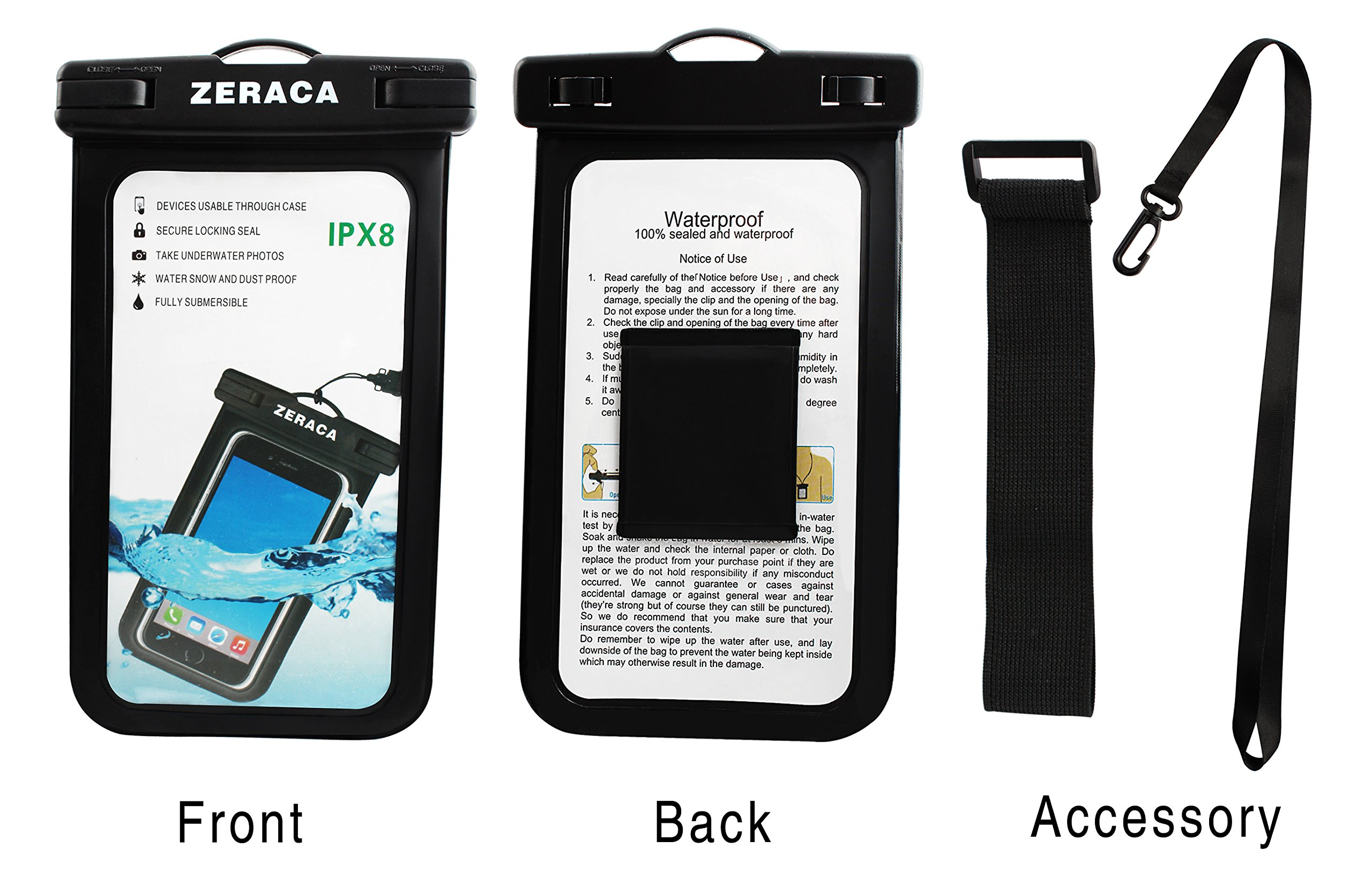 Zeraca Universal Waterproof Case IPX8 Phone Pounch Dry Bag for iPhone 8 8Plus 7 7Plus 6 6s Plus Samsung Google Pixel HTC LG Huawei Up To 6.0 Inches 2 PACK (Black White) by zeraca (Image #2)