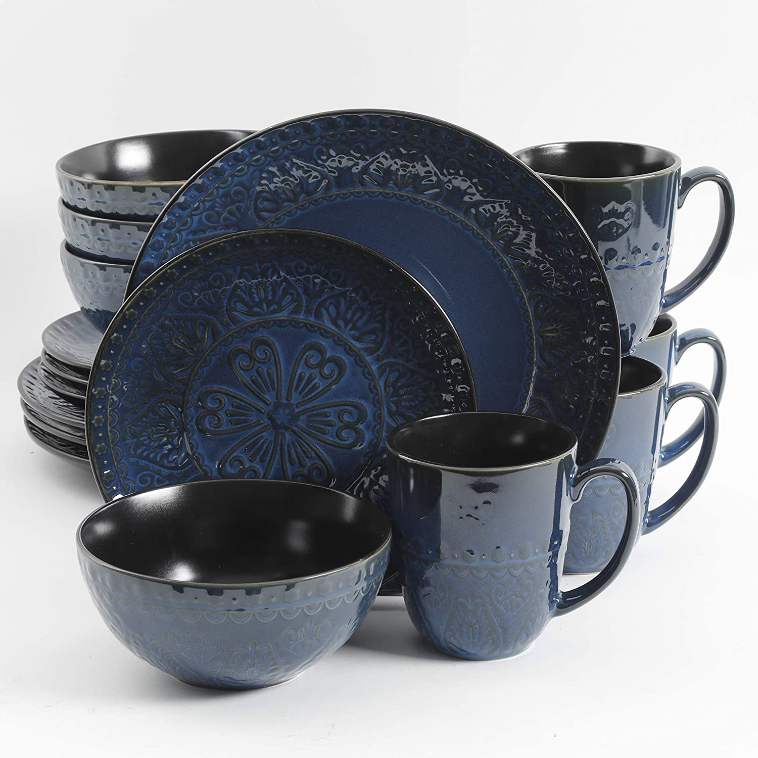 Gibson Elite Milanto 16 Piece Dinnerware Set, Blue