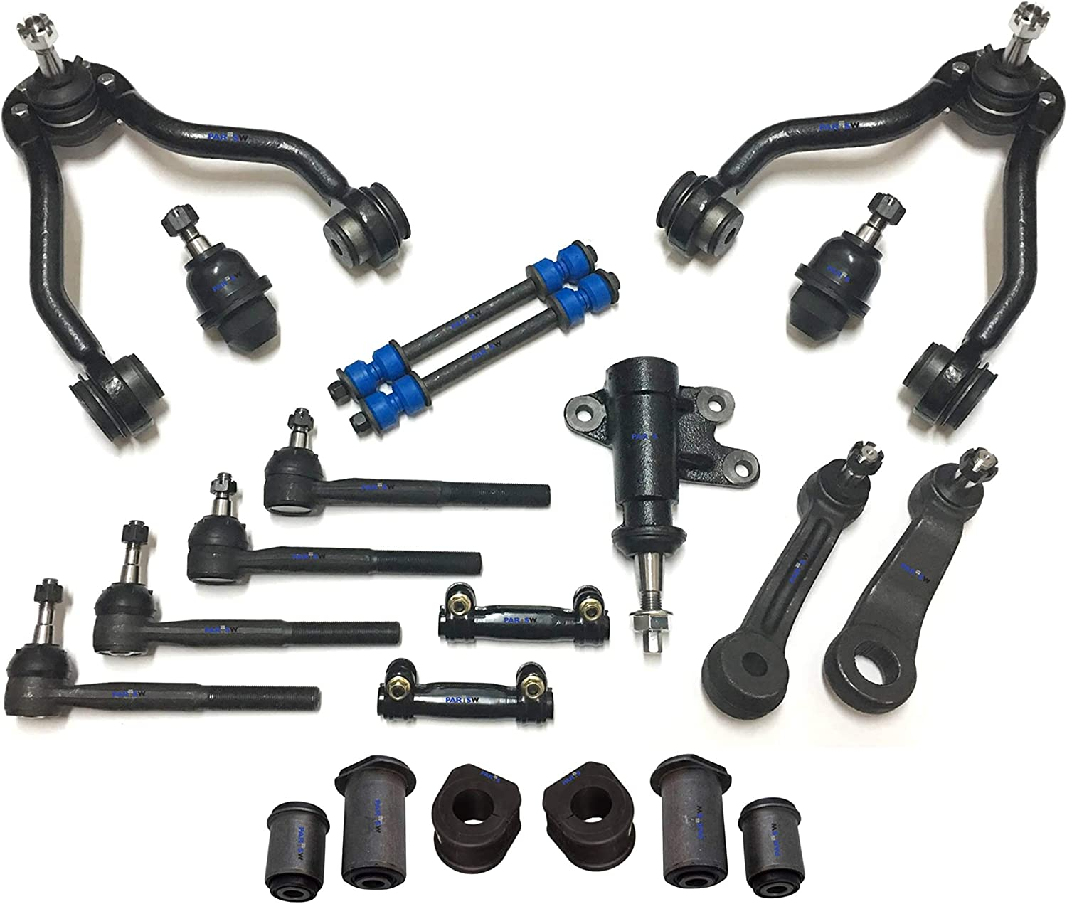 Yukon//Inner /& Outer Tie Rod Ends PartsW 21 Pc Suspension Kit for Escalade 1.06 Inch Front Sway Bar Frame Bushings 27mm Idler /& Pitman Arms K1500//K2500 Control Arms /& Ball Joints