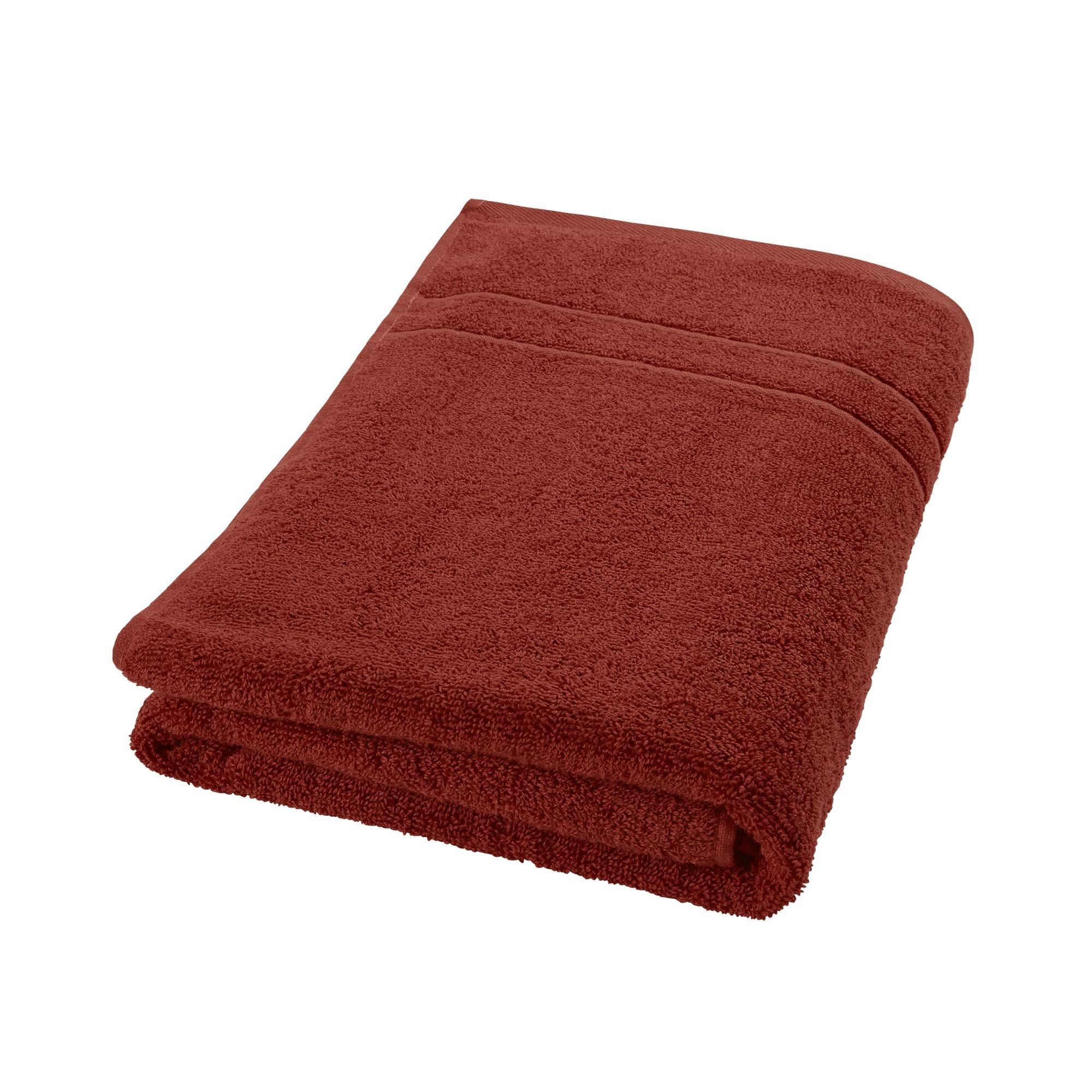 DECOLICIOUS - Toalla de baño 100% algodón Peinado - 550gr/m2 - Naranja Teja